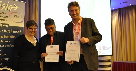 the authors of ETpedia Business English accept their award